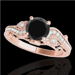 1.5 CTW Certified Vs Black Diamond Solitaire Antique Ring 10K Rose Gold - REF-59M5F - 34805
