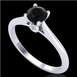 0.56 CTW Fancy Black Diamond Solitaire Engagement Art Deco Ring 18K White Gold - REF-52H8W - 38185