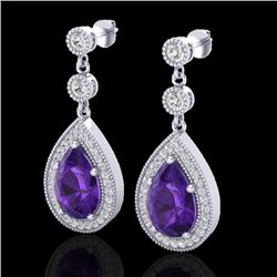 4.50 CTW Amethyst & Micro Pave VS/SI Diamond Certified Earrings 18K White Gold - REF-67N5Y - 23109