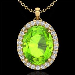 2.75 CTW Peridot & Micro VS/SI Diamond Halo Solitaire Necklace 18K Yellow Gold - REF-51W5H - 20595