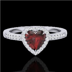 1.20 CTW Garnet & Micro VS/SI Diamond Certified Ring Heart Halo 14K White Gold - REF-35R3K - 21406