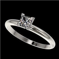 0.50 CTW Certified VS/SI Quality Princess Diamond Solitaire Ring 10K White Gold - REF-77N6Y - 32868