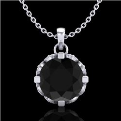 1.5 CTW Fancy Black Diamond Solitaire Art Deco Stud Necklace 18K White Gold - REF-89T3X - 37380