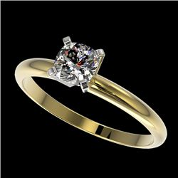 0.50 CTW Certified VS/SI Quality Cushion Cut Diamond Solitaire Ring 10K Yellow Gold - REF-77K6R - 32