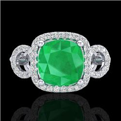 3.15 CTW Emerald & Micro VS/SI Diamond Certified Ring 18K White Gold - REF-78X2T - 23001