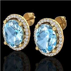 6 CTW Sky Blue Topaz & Micro VS/SI Diamond Certified Earrings Halo 18K Yellow Gold - REF-74R5K - 210