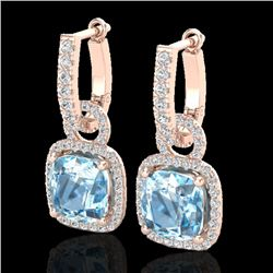 7 CTW Sky Blue Topaz & Micro Pave VS/SI Diamond Certified Earrings 14K Rose Gold - REF-92N2Y - 22973