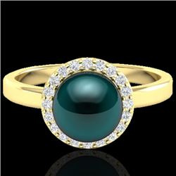 0.25 CTW Micro Pave Halo VS/SI Diamond & Peacock Pearl Ring 18K Yellow Gold - REF-53Y6N - 21637