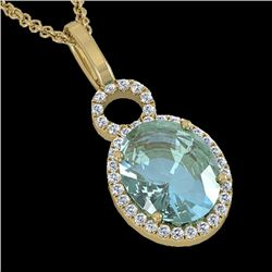 4 CTW Sky Blue Topaz & Pave Halo VS/SI Diamond Necklace 14K Yellow Gold - REF-45W3H - 22774