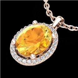2.50 CTW Citrine & Micro Pave VS/SI Diamond Necklace Halo 14K Rose Gold - REF-39H3W - 21075