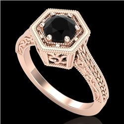 0.77 CTW Fancy Black Diamond Solitaire Engagement Art Deco Ring 18K Rose Gold - REF-89Y3N - 37500
