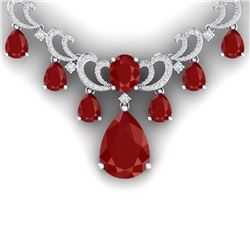 34.91 CTW Royalty Ruby & VS Diamond Necklace 18K White Gold - REF-981W8H - 38658