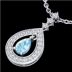 1.15 CTW Aquamarine & Micro Pave VS/SI Diamond Necklace Designer 14K White Gold - REF-61F3M - 23160