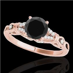 1.2 CTW Certified Vs Black Diamond Solitaire Ring 10K Rose Gold - REF-52W2H - 35254