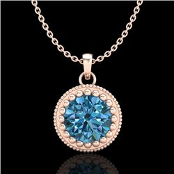 1 CTW Intense Blue Diamond Solitaire Art Deco Stud Necklace 18K Rose Gold - REF-158F2M - 37489