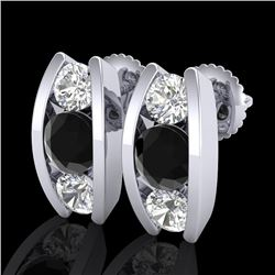2.18 CTW Fancy Black Diamond Solitaire Art Deco Stud Earrings 18K White Gold - REF-180R2K - 37765