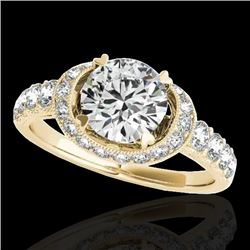 1.75 CTW H-SI/I Certified Diamond Solitaire Halo Ring 10K Yellow Gold - REF-180K2R - 34452