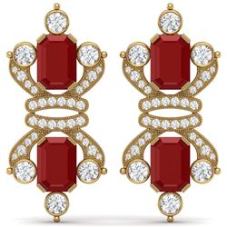 27.36 CTW Royalty Designer Ruby & VS Diamond Earrings 18K Yellow Gold - REF-600H2W - 38765