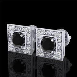1.63 CTW Fancy Black Diamond Solitaire Art Deco Stud Earrings 18K White Gold - REF-114M5F - 38157