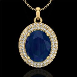 4.50 CTW Sapphire & Micro Pave VS/SI Diamond Certified Necklace 18K Yellow Gold - REF-120X9T - 20574