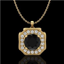 1.54 CTW Fancy Black Diamond Solitaire Art Deco Stud Necklace 18K Yellow Gold - REF-120K2R - 38292