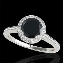 2.03 CTW Certified Vs Black Diamond Solitaire Halo Ring 10K White Gold - REF-101F3M - 33538