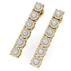 2 CTW Certified SI/I Diamond Halo Earrings 18K Yellow Gold - REF-132N3Y - 40174