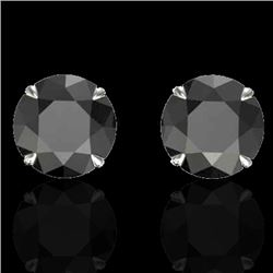 4 CTW Black VS/SI Diamond Designer Inspired Stud Earrings 18K White Gold - REF-105R8K - 21815