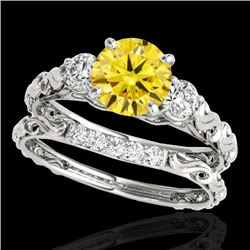 1.35 CTW Certified Si Fancy Intense Yellow Diamond 3 Stone Set 10K White Gold - REF-174X5T - 35437