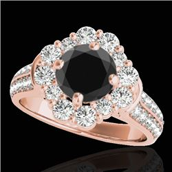 2.16 CTW Certified Vs Black Diamond Solitaire Halo Ring 10K Rose Gold - REF-112H4W - 33953
