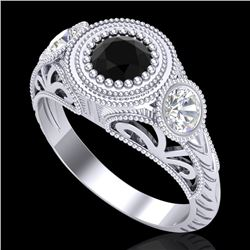 1.06 CTW Fancy Black Diamond Solitaire Art Deco 3 Stone Ring 18K White Gold - REF-123T6X - 37492