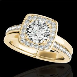 1.33 CTW H-SI/I Certified Diamond Solitaire Halo Ring 10K Yellow Gold - REF-176X4T - 34152