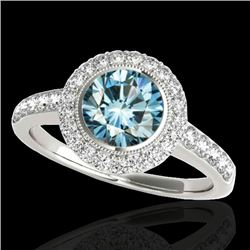 1.5 CTW SI Certified Fancy Blue Diamond Solitaire Halo Ring 10K White Gold - REF-180R2K - 34446