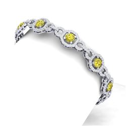 12 CTW Si/I Fancy Yellow And White Diamond Bracelet 18K White Gold - REF-845H5W - 40118