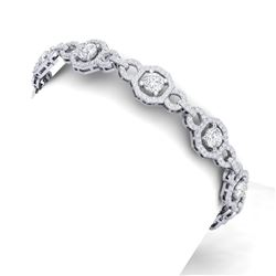 12 CTW Certified SI/I Diamond Halo Bracelet 18K White Gold - REF-668K2R - 40112