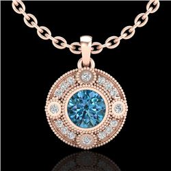 1.01 CTW Fancy Intense Blue Diamond Solitaire Art Deco Necklace 18K Rose Gold - REF-140Y2N - 37706