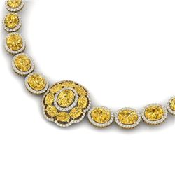 74.56 CTW Royalty Canary Citrine & VS Diamond Necklace 18K Yellow Gold - REF-1045N5Y - 39236