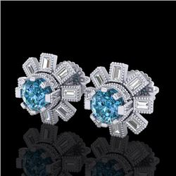 1.77 CTW Fancy Intense Blue Diamond Art Deco Stud Earrings 18K White Gold - REF-177M3F - 37866