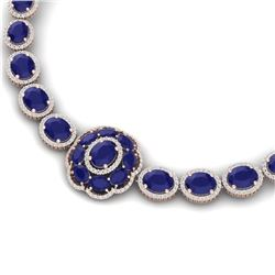 79.27 CTW Royalty Sapphire & VS Diamond Necklace 18K Rose Gold - REF-1236H4W - 39226