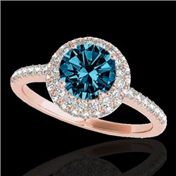 1.6 CTW SI Certified Fancy Blue Diamond Solitaire Halo Ring 10K Rose Gold - REF-169T3X - 33676