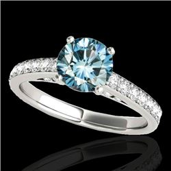 1.5 CTW SI Certified Fancy Blue Diamond Solitaire Ring 10K White Gold - REF-172R8K - 34867