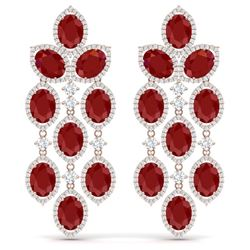 35.15 CTW Royalty Designer Ruby & VS Diamond Earrings 18K Rose Gold - REF-590X9T - 38926