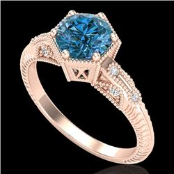 1.17 CTW Fancy Intense Blue Diamond Solitaire Art Deco Ring 18K Rose Gold - REF-180T2X - 38035