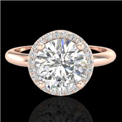 2 CTW Micro Pave VS/SI Diamond Certified Ring Designer Halo 14K Rose Gold - REF-948H2W - 23210