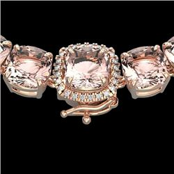 87 CTW Morganite & VS/SI Diamond Halo Micro Pave Necklace 14K Rose Gold - REF-1163X6T - 23353