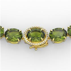 145 CTW Green Tourmaline & VS/SI Diamond Necklace 14K Yellow Gold - REF-1166X2T - 22301