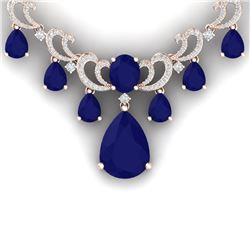 34.91 CTW Royalty Sapphire & VS Diamond Necklace 18K Rose Gold - REF-963H6W - 38662