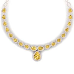 48.24 CTW Royalty Canary Citrine & VS Diamond Necklace 18K Rose Gold - REF-781Y8N - 39433