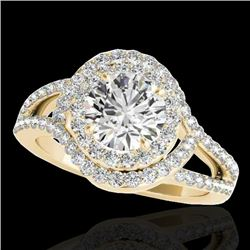 1.9 CTW H-SI/I Certified Diamond Solitaire Halo Ring 10K Yellow Gold - REF-209F3M - 34389