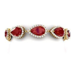 42 CTW Royalty Designer Ruby & VS Diamond Bracelet 18K Yellow Gold - REF-600F2M - 38861